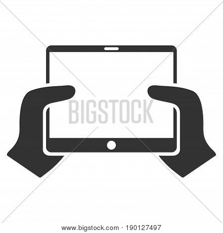 Hands Hold PDA vector icon. Flat gray symbol. Pictogram is isolated on a white background. Designed for web and software interfaces.