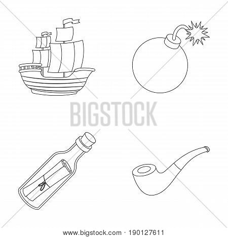 Pirate, bandit, ship, sail .Pirates set collection icons in outline style vector symbol stock illustration .