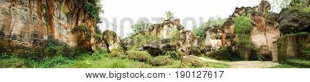 Large quarry for limestone mining mine in Arosbaya, madura, east java, indonesia