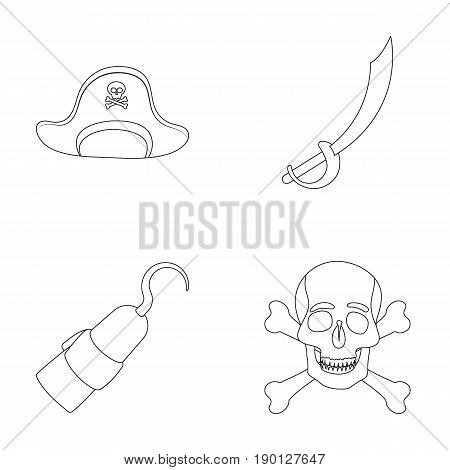 Pirate, bandit, cap, hook .Pirates set collection icons in outline style vector symbol stock illustration .