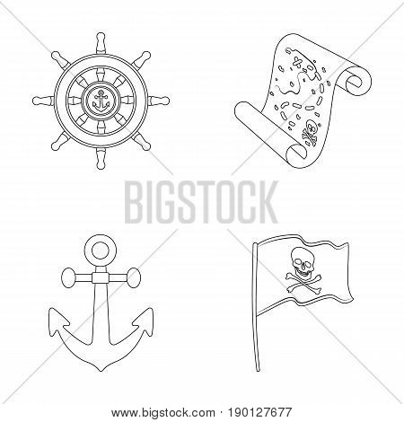 Pirate, bandit, rudder, flag .Pirates set collection icons in outline style vector symbol stock illustration .