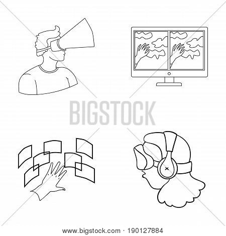 Hand, monitor, headphones, woman .Virtual reality set collection icons in outline style vector symbol stock illustration .