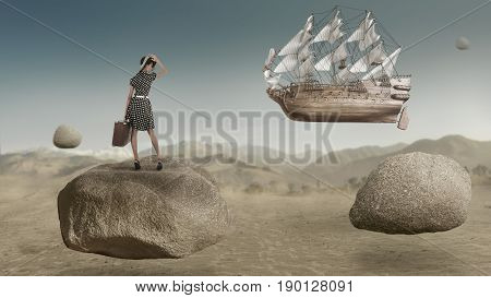 Abstract fantasy art of young woman traveling on old sail ship flying on the sky