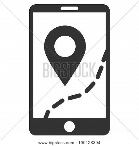 Mobile Map Navigation vector icon. Flat gray symbol. Pictogram is isolated on a white background. Designed for web and software interfaces.