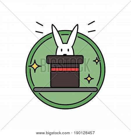 Rabbit inside magician hat, funny magic trick concept circle badge vector