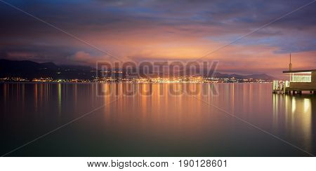 Nightfall at Pully by Lake Leman (Lake Geneva) in Switzerland