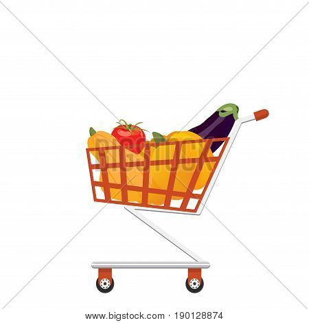 Supermarket full shopping trolley cart with fresh grocery products. Shop cart full of vegetables. Farmers products full wheel box made in a flat cartoon style.