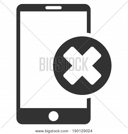 Phone Cancel vector icon. Flat gray symbol. Pictogram is isolated on a white background. Designed for web and software interfaces.