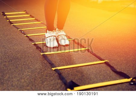 Close-up Step for exercises in the gym with an athlete's foot ladder.high contrast and monochrome color tone.
