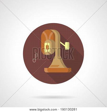 Abstract symbol of tuba and outline note. Brass band music instrument. Round flat design brown vector icon.