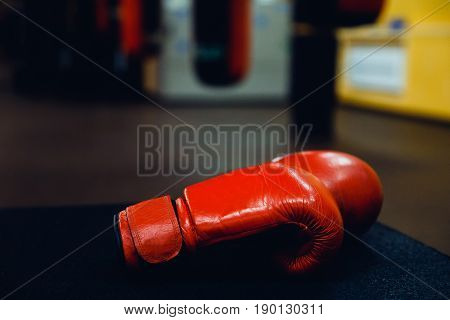Boxing gloves in the ring.  high contrast and monochrome color tone.