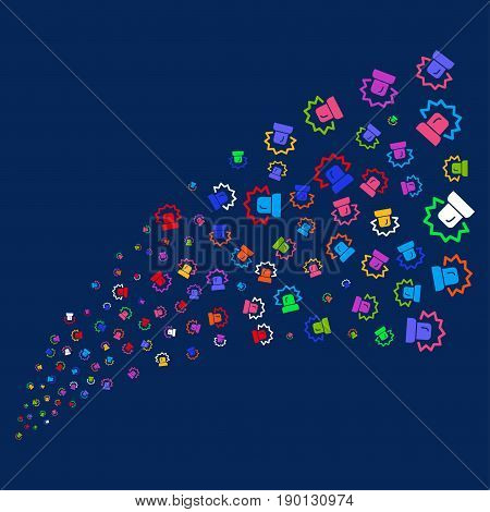 Source stream of alarm symbols. Vector illustration style is flat bright multicolored alarm iconic symbols on a blue background. Object fountain created from scattered design elements.