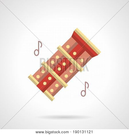 Abstract symbol of music folk instrument. Reed chinese red pipes and two line notes. Flat color style vector icon.