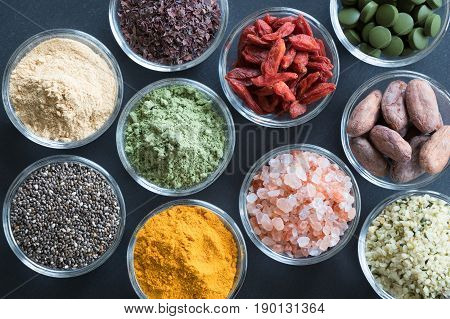 Selection Of Superfoods On A Black Background