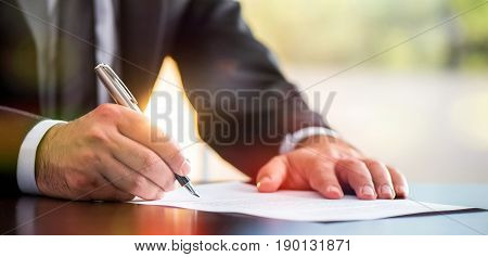 Businessman Signing A Legal Document, Business Situation