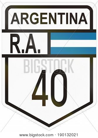 Route Sign Of The Argentinian National Route 40