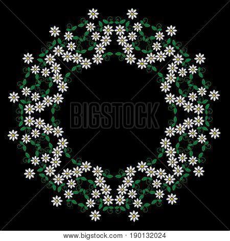 Embroidery stitches imitation round frame with folk white flower and green leaf. Floral wreath on black background. Embroidery flower vector.