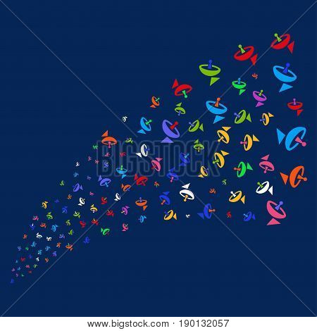 Source stream of antenna icons. Vector illustration style is flat bright multicolored antenna iconic symbols on a blue background. Object fountain constructed from random pictographs.