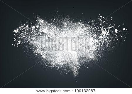 Abstract White Powder Against Dark Background