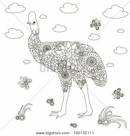 Anti stress abstract Cassowaries, flowering hand drawn monochrome stock vector illustration