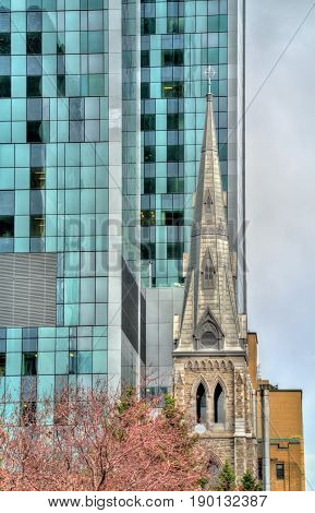 Bell tower of the Holy Savior Church in Montreal - Canada