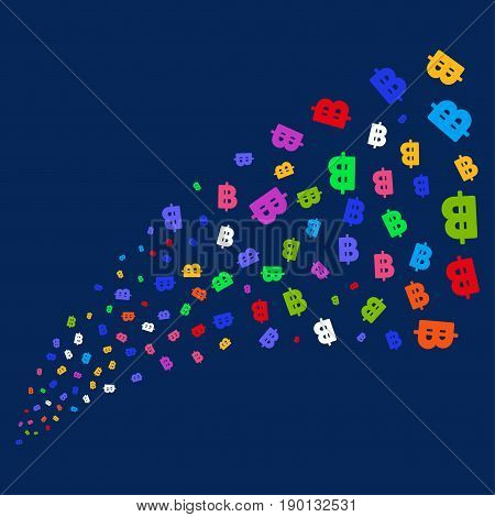 Fountain of baht icons. Vector illustration style is flat bright multicolored baht iconic symbols on a blue background. Object salute constructed from confetti pictographs.