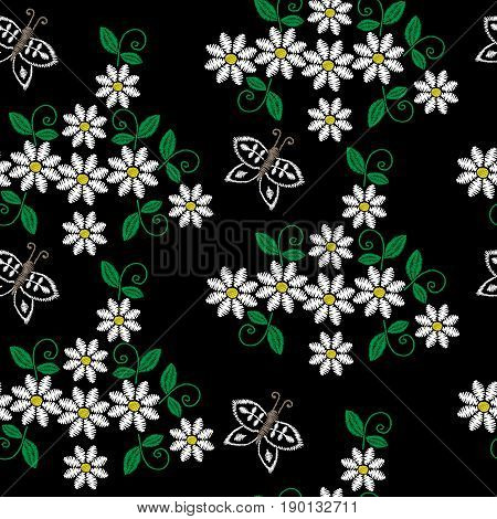 Seamless pattern with embroidery stitches imitation white flower butterfly and green leaf. Floral embroidery pattern vector background for printing on fabric paper for scrapbook gift wrap.