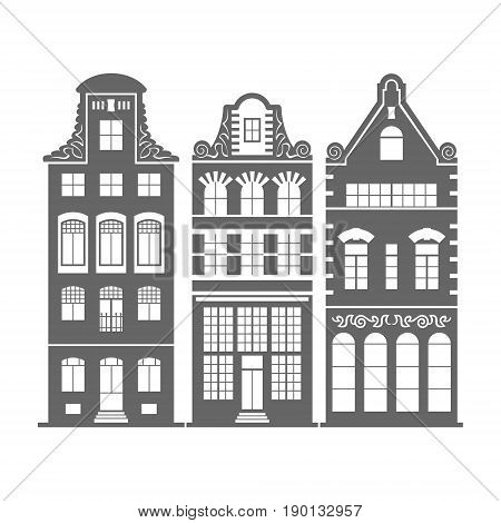 Set of 3 shape Amsterdam, Holland old houses facades. Traditional architecture of Netherlands. Silhouette black and white vector isolated illustrations in the Dutch style.