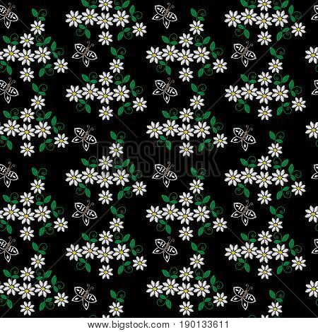 Seamless pattern with embroidery stitches imitation little white flower butterfly and green leaf. Floral embroidery pattern vector background for printing on fabric paper for scrapbook gift wrap.