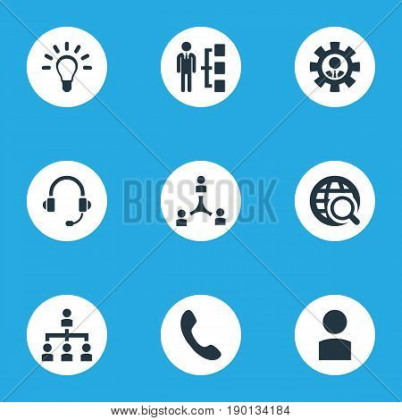 Vector Illustration Set Of Simple Human Icons. Elements Account, Laborer, Structure And Other Synonyms World, Worker And Call.