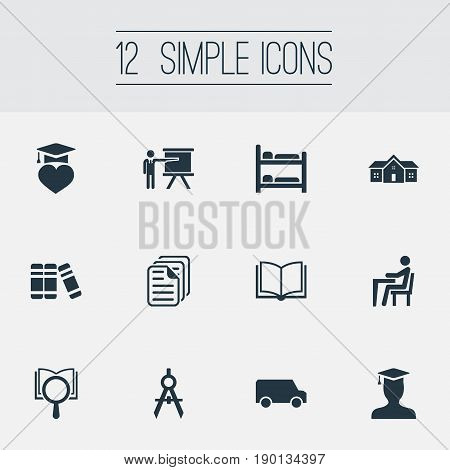 Vector Illustration Set Of Simple School Icons. Elements Bookstore, Learning, Pupil And Other Synonyms University, Truck And School.