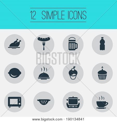 Vector Illustration Set Of Simple Gastronomy Icons. Elements Beverage, Stew-Pot, Muffin And Other Synonyms Plate, Dish And Oven.