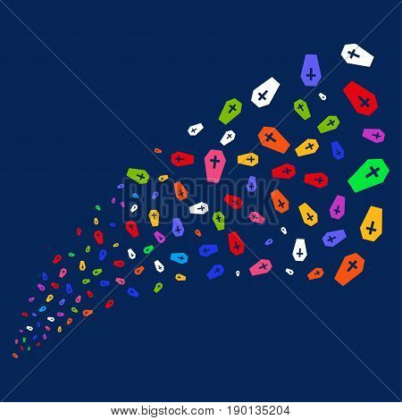 Source of coffin icons. Vector illustration style is flat bright multicolored coffin iconic symbols on a blue background. Object stream combined from confetti icons.