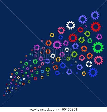 Source of cog icons. Vector illustration style is flat bright multicolored cog iconic symbols on a blue background. Object salute made from confetti pictographs.
