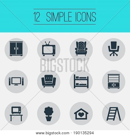 Vector Illustration Set Of Simple Furnishings Icons. Elements Bunk Bed, Cinema System, Tv And Other Synonyms Entertainment, Home And Closet.