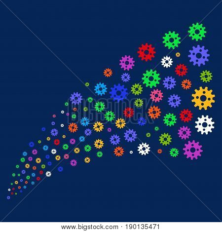 Source of cogwheel symbols. Vector illustration style is flat bright multicolored cogwheel iconic symbols on a blue background. Object salute made from scattered design elements.