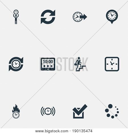 Vector Illustration Set Of Simple Time Icons. Elements Approve, Alarm, Progress And Other Synonyms Advance, Tablet And Day.