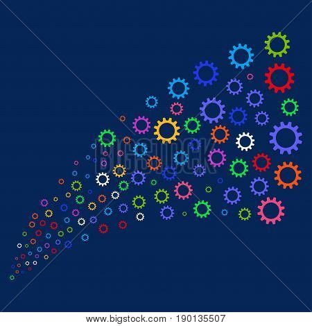 Source stream of cogwheel symbols. Vector illustration style is flat bright multicolored cogwheel iconic symbols on a blue background. Object stream combined from scattered symbols.