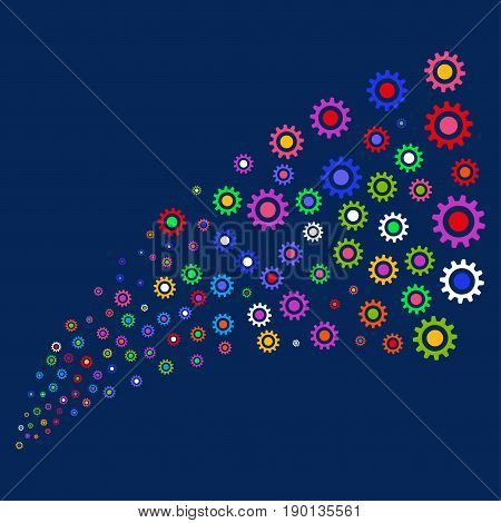 Source stream of cogwheel symbols. Vector illustration style is flat bright multicolored cogwheel iconic symbols on a blue background. Object stream done from random icons.