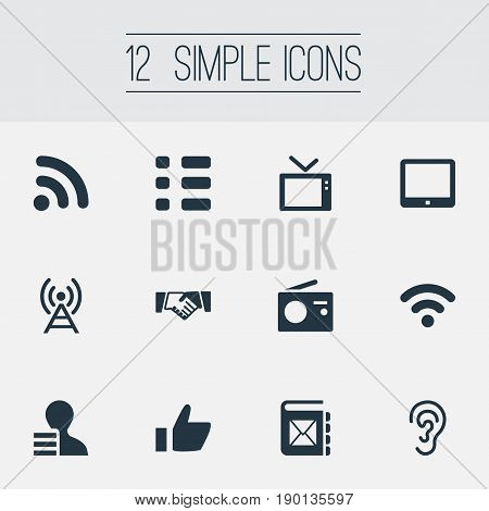 Vector Illustration Set Of Simple Social Icons. Elements Digital Pad, Questionnaire, Radio Tower And Other Synonyms Like, Tablet And Fm.