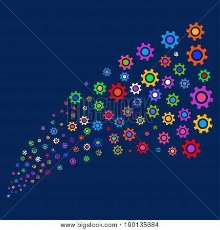 Fountain of cogwheel icons. Vector illustration style is flat bright multicolored cogwheel iconic symbols on a blue background. Object source constructed from scattered pictographs.