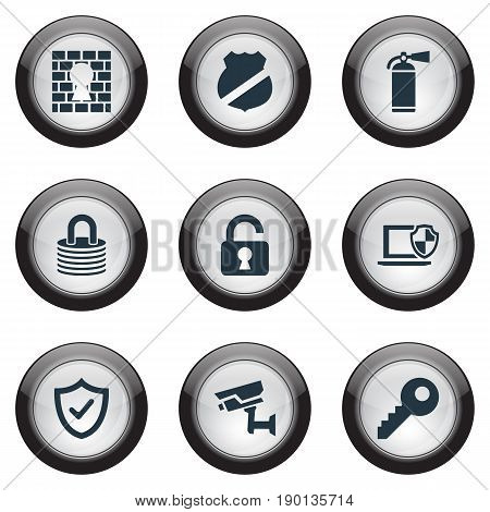 Vector Illustration Set Of Simple Safety Icons. Elements Approve, Guard, Tracking Camera And Other Synonyms Password, Surveillance And Safe.