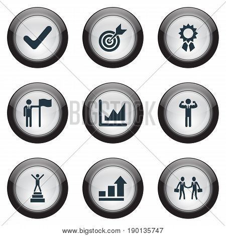 Vector Illustration Set Of Simple Champion Icons. Elements Attainment, Successful Person, First Place And Other Synonyms Business, Ribbon And Growth.
