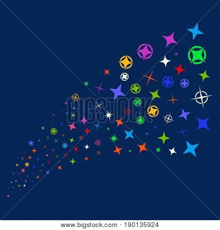 Source stream of confetti stars icons. Vector illustration style is flat bright multicolored confetti stars iconic symbols on a blue background. Object stream constructed from random design elements.