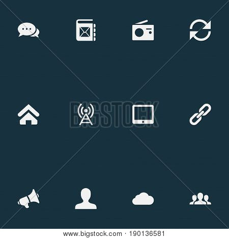 Vector Illustration Set Of Simple Network Icons. Elements Member, Team, Talking And Other Synonyms Device, Loudspeaker And Server.