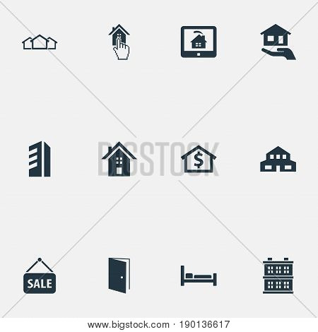 Vector Illustration Set Of Simple Real Icons. Elements Building, Structure, High-Rise And Other Synonyms Multistory, Houses And Database.