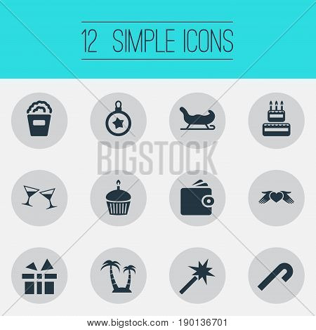 Vector Illustration Set Of Simple Festal Icons. Elements Cake, Birthday Dessert, Sleigh And Other Synonyms Candle, Anniversary And Palm.