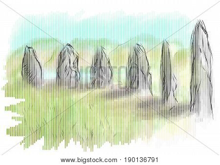 orkney A neolithic stone circle and henge which is part of The Heart of Neolithic Orkney World Heritage Site