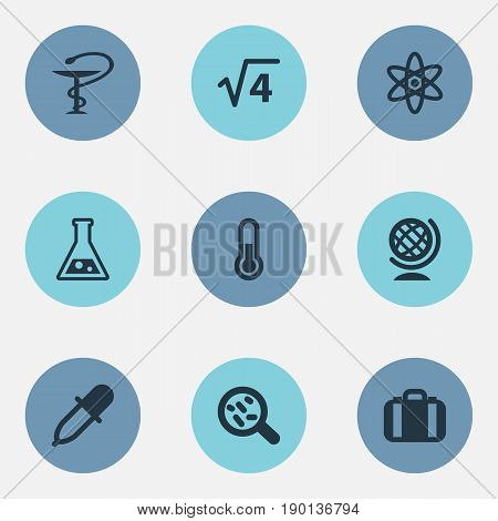 Vector Illustration Set Of Simple Science Icons. Elements Briefcase, Medicine Dropper, Pharmacy And Other Synonyms Pipette, Substance And Globe.
