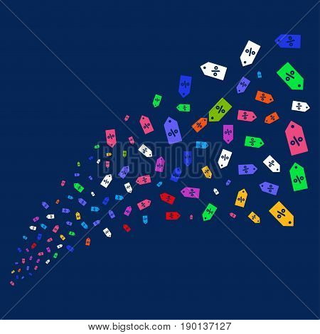Source stream of discount tag icons. Vector illustration style is flat bright multicolored discount tag iconic symbols on a blue background. Object stream organized from random pictograms.
